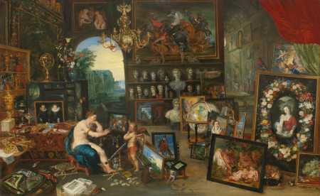 """Jan Brueghel the Younger (Flemish, 1601–1678), """"The Five Senses: Sight ,"""" ca. 1625. Oil on panel, 27 5/8 × 44 5/8 inches. Courtesy of the Paul G. Allen Family Collection."""