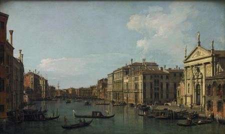 """Canaletto (Giovanni Antonio Canal) (Italian, 1697–1768), """"The Grand Canal, Venice, Looking Southeast from San Stae to the Fabbriche Nuove di Rialto,"""" ca. 1738. Oil on canvas, 18 1/2 × 30 5/8 inches. Courtesy of the Paul G. Allen Family Collection."""