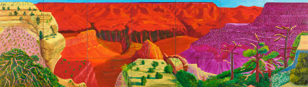 """David Hockney (English, born 1937), """"The Grand Canyon,"""" 1998. Oil on canvas, 21 canvases, each 16 × 24 in.; overall 48 1/2 in. × 14 ft. 1 in. © David Hockney; Courtesy of the Paul G. Allen Family Collection."""