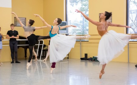 "(From left) Paige Wilkey, Emily Parker, and Sarah Griffin in rehearsal for August Bournonville's ""Napoli."" Photo: Blaine Truitt Covert"