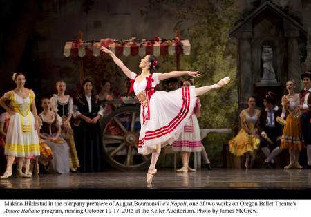 """Makino Hildestad in Oregon Ballet Theatre's premiere of August Bournonville's """"Napoli."""" Photo by James McGrew."""