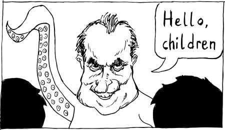 The Brody Theater played a game of Micetro, and Richard Nixon showed up as an octopus./Drawing by Brian Kearney