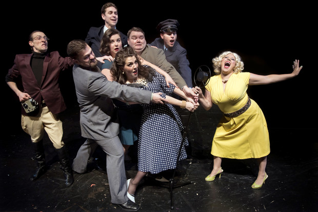 Phillip Berns, Peter Schuyler, Andrew Beck, Jessi Walters, Clara Hillier, Gary Strong, Jeremy Sloan and Jessica Geffen as the cast of KBNB Radio Classics. Photo: Casey Campbell Photograph.
