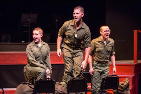 Ryan Monaghan, Max Artsis, and Danny Walker as Boland, Birdlace, and Bernstein. Photo: David Kinder