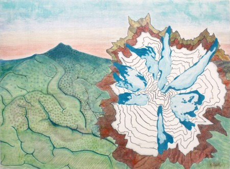 """""""Changing Landscapes,"""" Kindra Crick, 2015. Mixed media with topographic map on silk organza , 36 x 48 inches."""