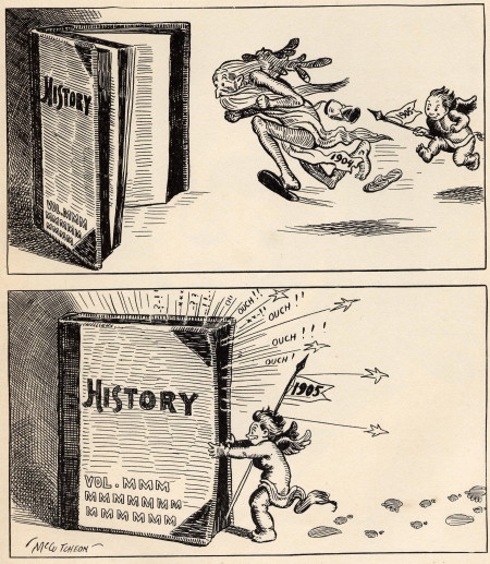 """Baby New Year chasing the old year into the history books, John T. McCutcheon, from the book """"The Mysterious Stranger and Other Cartoons by John T. McCutcheon,"""" New York; McClure, Philips & Co., 1905. Wikimedia Commons"""