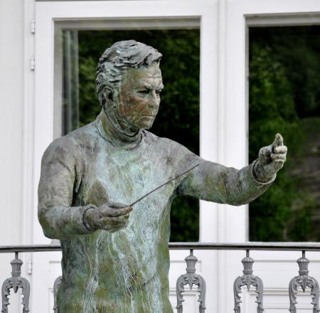 Conductor Herbert von Karajan's statue in Salzburg.