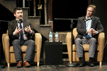 Mayoral candidates Jules Bailey, left, and Ted Wheeler at the candidates forum./John Strieder / OPB