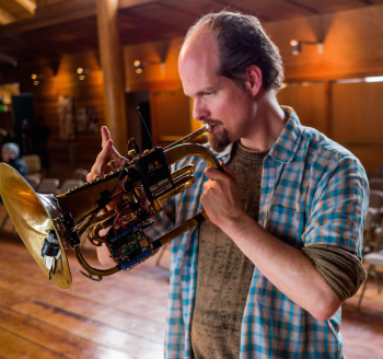 John Berendzen plays Robohorn at Cascadia Composers' Perceptions of Sound concert.