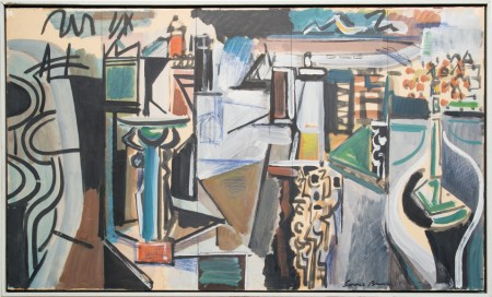 """Louis Bunce, """"Study for Fleet Mural,"""" c. 1960, oil and mixed media on paper mounted on masonite, 25 x 41 inches. In """"Looking Back: Northwest Icons"""" at Laura Russo."""