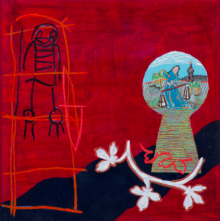 """A Child's Wish,"" 1996, acrylic, gouache, and mixed media on paper, 15 x 15"" (framed dimensions), private collection. Photo: Dale Peterson."