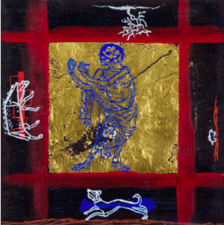 """The Blue Death,"" 1996, acrylic, gouache, gold leaf, and mixed media on paper, 15 x 15"" (framed dimensions), courtesy of the artist. Photo: Dale Peterson."