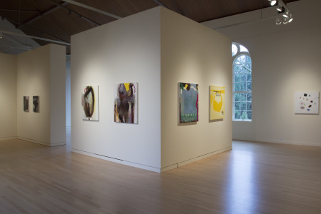 "'and from this distance one might never imagine that it is alive,' (left to right) Grant Hottle, Ron Graff, and Amy Bernstein, 2015. Courtesy of The Art Gym. Amy Bernstein's ""Flesh of My Flesh"" is at the far right."