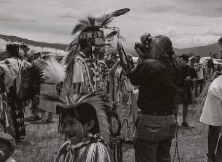"Zig Jackson. ""Camera in Face, Taos, New Mexico,"" 1992, from the series ""Indian Photographing Tourist Photographing Indian."" Pigment print. Courtesy of the artist and Andrew Smith Gallery © Zig Jackson"