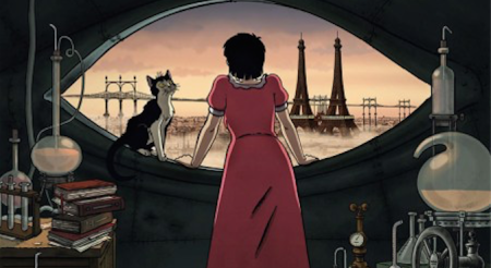 """Scene from French animated feature """"April and the Extraordinary World."""""""