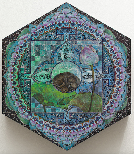 """Shu-Ju Wang, """"Platypus Sleeps in the Lotus Dream Chamber,"""" gouache, color pencil, cold wax on paper mounted on panel, 14 x 12 inches."""