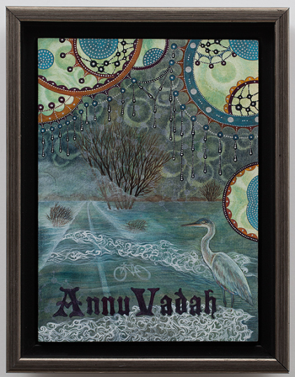 """Shu-Ju Wang, """"Annuvadah,"""" gouache, color pencil, Print Gocco, cold wax on paper mounted on board, 8.5 x 6.5 inches."""