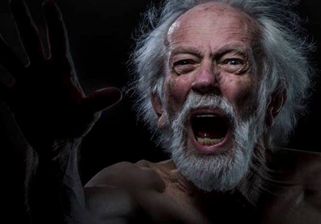"""Tobias Andersen as Lear: """"You cataracts and hurricanoes, spout!"""" Photo: Russell J. Young"""