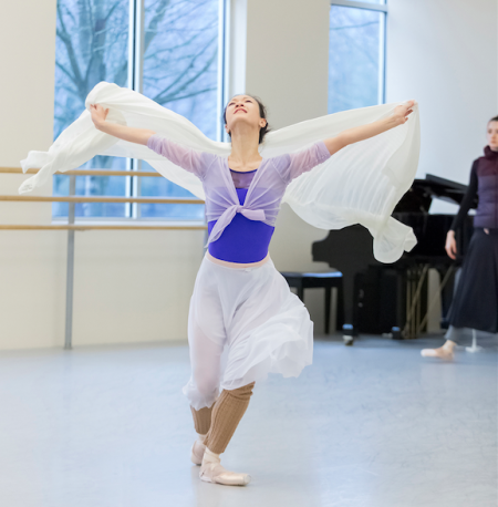 Xuan Cheng in rehearsal as Juliet for Canfield's ballet. Photo: Blaine Truitt Covert