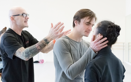 James Canfield (left) rehearses Peter Franc as Romeo and Xuan Cheng as Juliet. Photo: Blaine Truitt Covert
