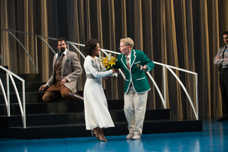 """Orsino (Elijah Alexander) shares Viola's (Sara Bruner) confusion as Olivia (Gina Daniels) declares she has married """"Cesario."""" Also pictured: Sean Jones. Photo by Jenny Graham, Oregon Shakespeare Festival."""