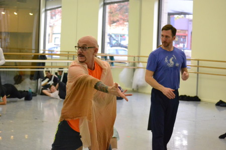 """As choreographer James Canfield takes up the foreground, ballet master Jeff Stanton carefully backs him up in rehearsal for """"R&J."""" Photo: Sam Cole"""