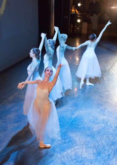 """OBT dancers perform an excerpt from Balanchine's """"Serenade"""" at the season unveiling: from left Kimberly Nobriga, Katherine Monogue, Candace Bouchard, Jessica Lind, Paige Wilke. Photo: Blaine Truitt Covert"""