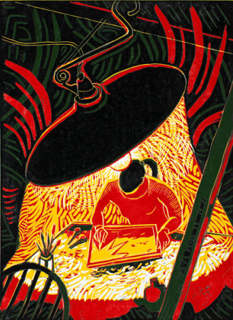 George Johanson, Under the Lamp, reduction linocut, 2015, 12 x 16 inches/Augen Gallery