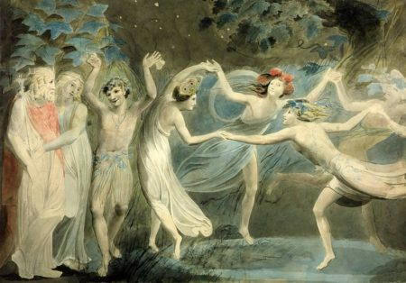 """""""Oberon, Titania, and Puck with Fairies Dancing,"""" William Blake, ca. 1786, watercolor and graphite on paper, 18.7 x 26.6 inches, Tate Britain, London / Wikimedia Commons"""