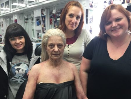"Magic in the ""Grimm"" makeup trailer was performed by Morgan Muta, makeup artist, Corinna Woodcock, key makeup artist, and Laura Loucks, department head makeup. Their wizardry transformed 64-year-old extra Cynthia Stowell into 90-year-old Summer Blake. (Morgue-worthy wig by Shelia Cyphers, department head hair, and Emie Otis, key hair.)"