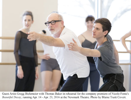 """Guest Artist Gregg Bielemeier with Thomas Baker in rehearsal for the company premiere of Nicolo Fonte's """"Beautiful Decay,"""" running Apr. 14 - Apr. 23, 2016 at the Newmark Theatre. Photo by Blaine Truitt Covert."""