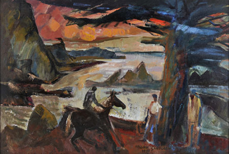 """Nelson Sandgren, """"Evening Rider by the Sea,"""" 1997, oil on canvas, 25 x 37 in., collection of the Hallie Ford Museum of Art, Stephan Soihl Art Acquisition Fund, 2000.055.002. Photo by Dale Peterson."""