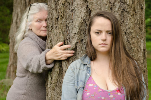 Mikki Lipsey (l) and Norah Zahakarias as older and younger versions of the character Myra. Photo: Brent Barnett