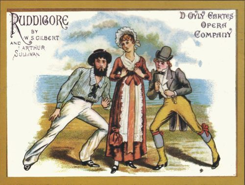 """Richard, Rose, and Robin in the poster for the original 1887 D'Oyly Carte production of """"Ruddigore."""" Wikimedia Commons"""