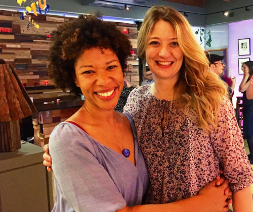 Heidi Schreck (right) with actor Ayanna Berkshire at Artists Rep. Photo: Nicole Lane