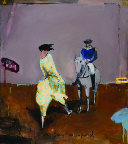"""Royal Nebeker (American, 1945-2014), """"Blinky Meets a Patriot,"""" 2006, oil on canvas, 55.5 x 50 in., collection of Sarah Nebeker, Gearhart, Oregon. Photo by Allan McMakin."""