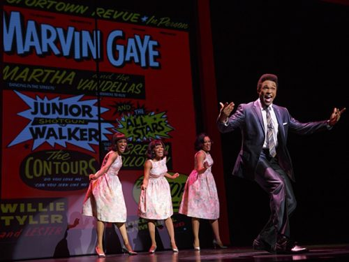 "Jarran Muse as Marvin Gaye & cast in the national tour of ""Motown The Musical."" Photo: Joan Marcus"