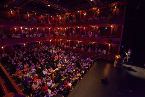 A soft gl;ow of red in the Dolores Winningstad Theatre for Monday night's PAMTAs. Photo: David Kinder/kinderpics photography
