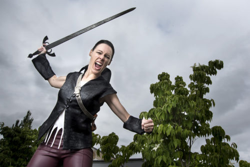 Cassie Greer as Coriolanus at Bag&Baggage. Casey Campbell Photography