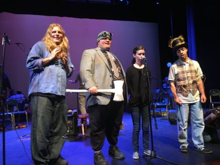 """Maxwell Rochette as Cowardly Lion, Drew Christensen as Tin Man, Anne-Marie Plass as Dorothy and Aaron Hobson as Scarecrow in PHAME's concert staging of """"Wizard of Oz,"""" running July 16-17."""