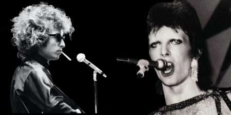 "Bob Dylan in ""Dont Look Back"" and David Bowie in ""Ziggy Stardust and the Spiders from Mars"""