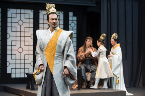 Leontes (Eric Steinberg) is tortured by jealous thoughts as his friend Polixenes (James Ryen), son Mamillius (Naomi Nelson) and wife Hermione (Amy Kim Waschke) play in the background. Photo: Jenny Graham, Oregon Shakespeare Festival