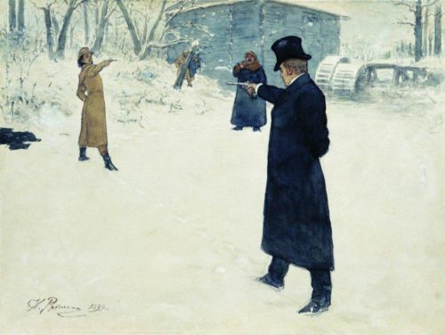 "Ilya Repin, ""Eugene Onegin and Vladimir Lensky's Duel,"" 1899, watercolor, white lead and India ink on paper, Pushkin Museum, Moscow/Wikimedia Commons"