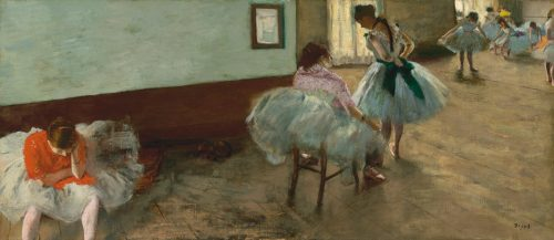 """Edgar Degas), """"The Dance Lesson,"""" c. 1879, oil on canvas, Collection of Mr. and Mrs. Paul Mellon. National Gallery of Art, Washington, D.C."""