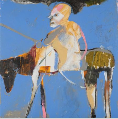 """Rider with V,"" Rick Bartow, 2015, acrylic on canvas, 30 x 30 inches. Froelick Gallery."