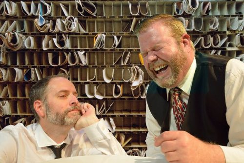 "Todd Van Voris (right) and sean Doran in ""Hughie."" Imago Theatre photo."