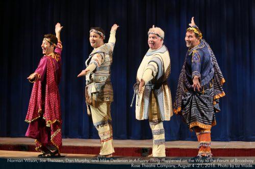 """Norman Wilson, Joe Theissen, Dan Murphy, Mike Dederian in """"Forum."""" Photo: Liz Wade"""