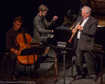 David Shifrin (r) starred in CMNW's Brahms concerts. Photo: Tom Emerson.