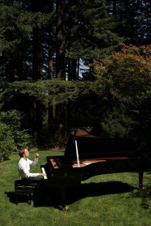 Hunter Noack performing outside.