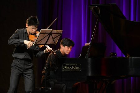 Violinist Angelo Xiang Yu and composer/pianist Andrew Hsu performed at the The Alberta Rose Theatre. Photo: Jonathan Lange.